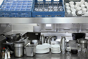 Industrial dishwasher soaps and cleaning products